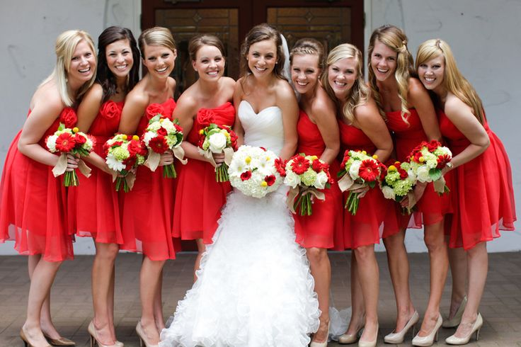 Choose a red bridesmaid dress simple wedding dress for Wedding dresses color red